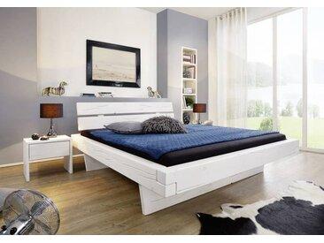Balkenbett Fichte 160x200x87 weiß lackiert VANCOUVER #706