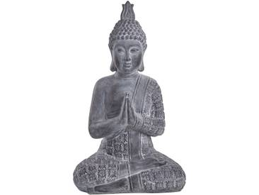 6 x Buddha Grau  FENG SHUI STATUE  Budda Figur mit Teelichthalter Glas TOP PREIS