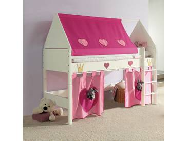 Etagenbett Rosa : Flexa white etagenbett mit gerader leiter weiß rosa h cm bei