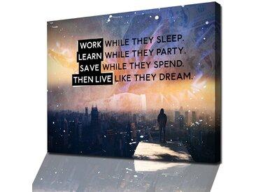Modernes XXL Wandbild mit Motivationspruch, Zitat auf Leinwand