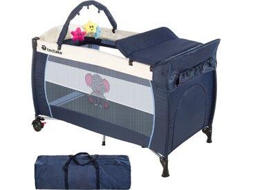 Kinderreisebett Elefant mit Wickelauflage blau von tectake