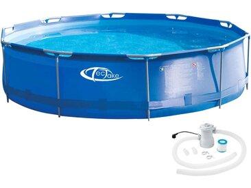 Swimming Pool rund mit Stahlrahmen und Filterpumpe Ø 360 x 76 cm von tectake