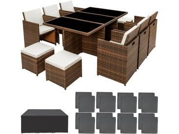 Aluminium Rattan Sitzgruppe New York 6+4+1 mit Schutzhülle braun - Rattanmöbel von tectake