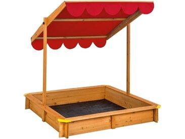 Sandkasten mit verstellbarem Dach rot von tectake