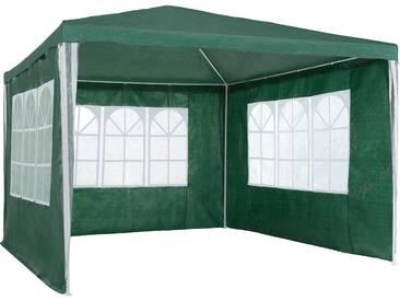 Garten Pavillon 3x3m mit 3 Seitenteilen grün von tectake