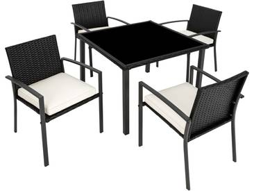 Rattan Sitzgruppe Meran 4+1 schwarz - Rattanmöbel von tectake