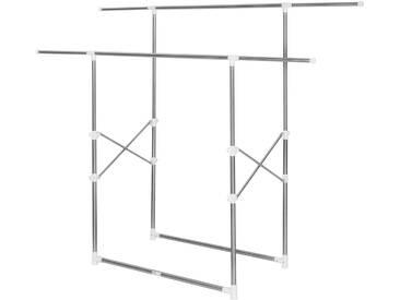 Kleiderständer ausziehbar 2 Stangen 84x42x170cm von tectake