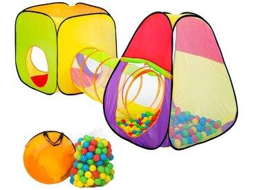 Spielzelt Pyramide mit Tunnel, 200 Bällen und Tasche von tectake