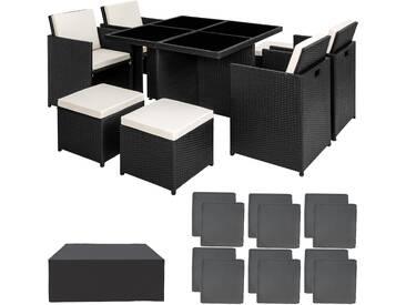 Aluminium Rattan Sitzgruppe Manhattan mit Schutzhülle schwarz - Rattanmöbel von tectake