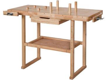 Holz Werkbank mit 2 Schraubstöcken 117 x 47,5 x 83 cm von tectake
