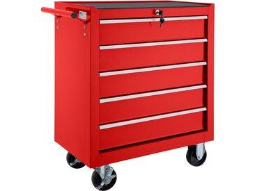 Werkzeugwagen mit 5 Schubladen rot von tectake