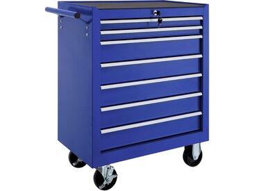 Werkzeugwagen mit 7 Schubladen blau von tectake