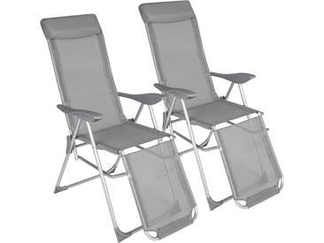 2 Aluminium Gartenstühle mit Kopfteil und Fußteil von tectake