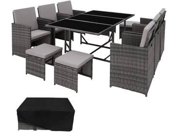 Rattan Sitzgruppe Malaga 6+4+1 mit Schutzhülle, Variante 2 grau - Rattanmöbel von tectake