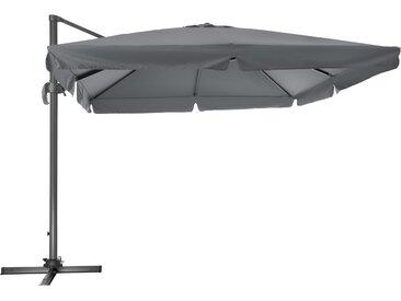 Sonnenschirm Ampelschirm 424cm mit Fußpedal grau von tectake