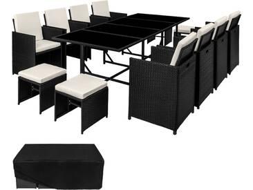 Rattan Sitzgruppe Palma 8+4+1 mit Schutzhülle, Variante 2 schwarz - Rattanmöbel von tectake