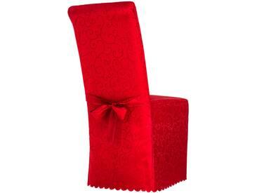 Stuhlhusse aus Polyester mit Schleife rot gemustert von tectake