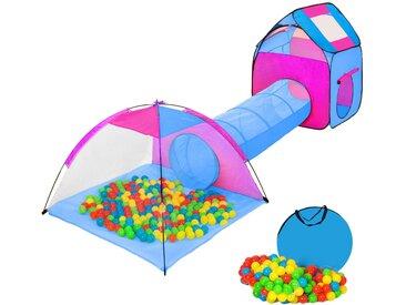 Spielzelt mit Tunnel, 200 Bällen und Tasche blau von tectake