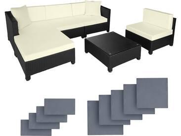 Rattan Lounge mit Aluminiumgestell inkl. Bezüge in 2 Farben schwarz - Rattanmöbel von tectake