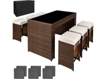 Aluminium Rattan Sitzgruppe Capri 6+1 mit Schutzhülle braun - Rattanmöbel von tectake