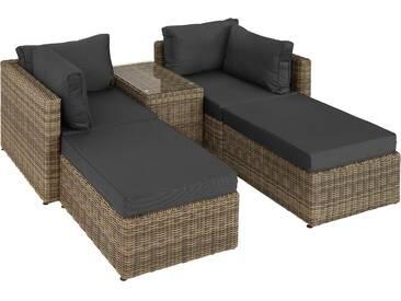 Rattan Lounge mit Aluminiumgestell San Domino natur - Rattanmöbel von tectake