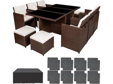 Aluminium Rattan Sitzgruppe New York 6+4+1 mit Schutzhülle antikbraun - Rattanmöbel von tectake