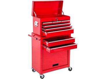Werkzeugwagen mit 8 Schubladen rot von tectake