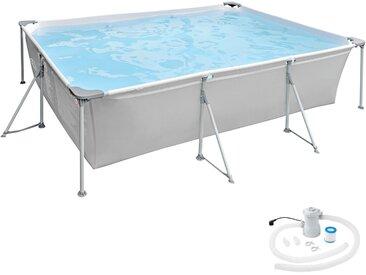 Swimming Pool rechteckig mit Filterpumpe 300 x 207 x 70 cm von tectake