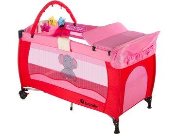 Kinderreisebett Elefant mit Wickelauflage pink von tectake