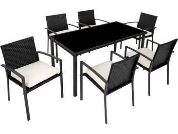 Rattan Sitzgruppe Brixen 6+1 schwarz - Rattanmöbel von tectake