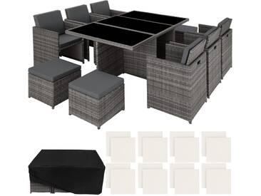 Aluminium Rattan Sitzgruppe New York 6+4+1 mit Schutzhülle grau - Rattanmöbel von tectake
