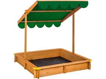 Sandkasten mit verstellbarem Dach grün von tectake