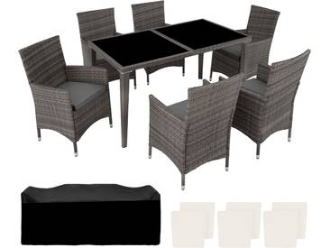 Aluminium Rattan Sitzgruppe 6+1 grau - Rattanmöbel von tectake