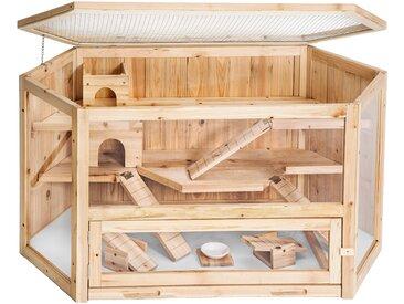 Hamsterkäfig aus Holz 115x60x58cm von tectake