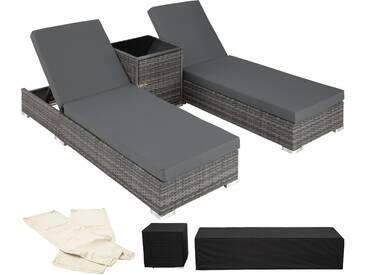 2 Sonnenliegen Rattan mit Aluminiumgestell und Tisch inkl.... - Rattanmöbel von tectake