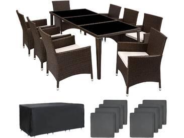 Aluminium Rattan Sitzgruppe Monaco 8+1 mit Schutzhülle antikbraun - Rattanmöbel von tectake