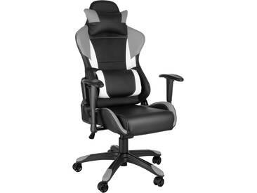 Premium Racing Bürostuhl Trinity schwarz/grau/weiß von tectake