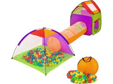 Spielzelt mit Tunnel, 200 Bällen und Tasche bunt von tectake