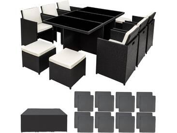 Aluminium Rattan Sitzgruppe New York 6+4+1 mit Schutzhülle schwarz - Rattanmöbel von tectake