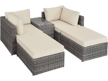 Rattan Lounge mit Aluminiumgestell San Domino grau - Rattanmöbel von tectake