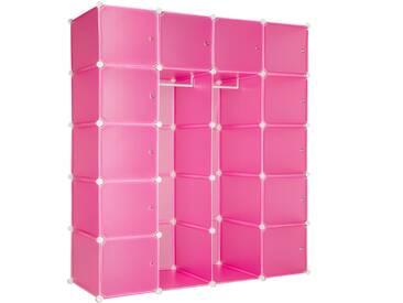 Steckregal 12 Boxen mit Türen inkl. Kleiderstangen pink von tectake