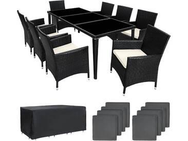 Aluminium Rattan Sitzgruppe Monaco 8+1 mit Schutzhülle schwarz - Rattanmöbel von tectake