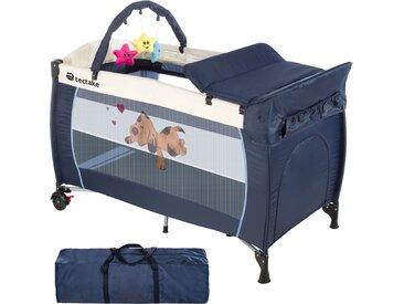 Kinderreisebett Hund mit Wickelauflage blau von tectake