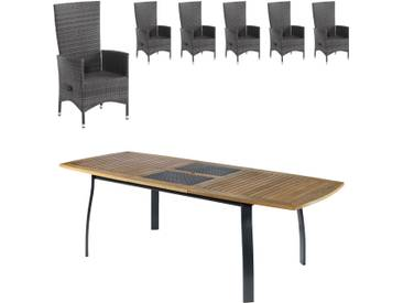 Gartenmöbel-Set Kingston/Rio Grande (1 Tisch, ausziehbar, 6 Komfortsessel, graumix)