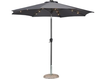 Alu-Sonnenschirm mit LED-Beleuchtung (grau)