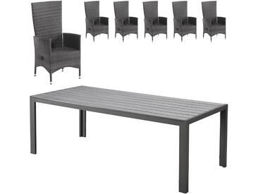 Gartenmöbel-Set Miami/Rio Grande (1 Tisch, 6 Komfortsessel, graumix)