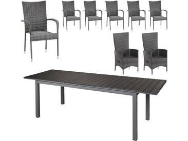 Gartenmöbel-Set Las Vegas XXL/Palermo/Rio Grande (1 Tisch, 6 Stapelstühle, 2 Komfortsessel, graumix)