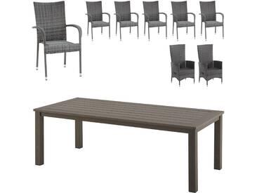 Gartenmöbel-Set Alexis/Palermo/Rio Grande (Tisch, 6 Stapelstühle, 2 Komfortsessel)