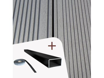 Komplett-Set TitanWood 4m XL Diele Hellgrau 72.8m² inkl. Alu-UK - inkl. Alu-Unterkonstruktion und den praktischen Clips+Schrauben