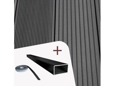 Komplett-Set TitanWood 5m Hohlkammerdiele Rillenstruktur dunkelgrau 20m² inkl. Alu-UK - inkl. Alu-Unterkonstruktion und den praktischen Clips+Schrauben